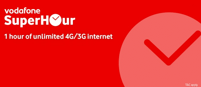 Vodafone Super Hour Recharge Plans| Unlimited 3G/4G internet