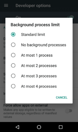Android Developer Options Background Process Limit