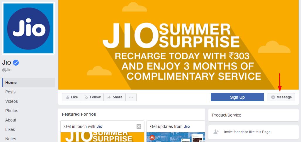 Jio facebook page