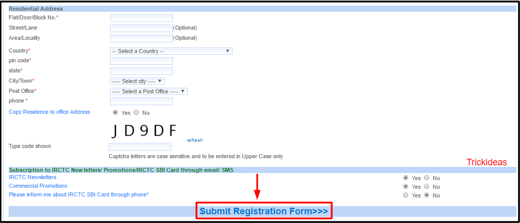 irctc Submit registration form