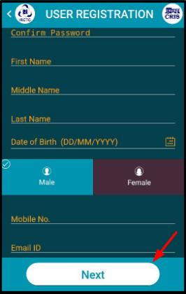 irctc app register