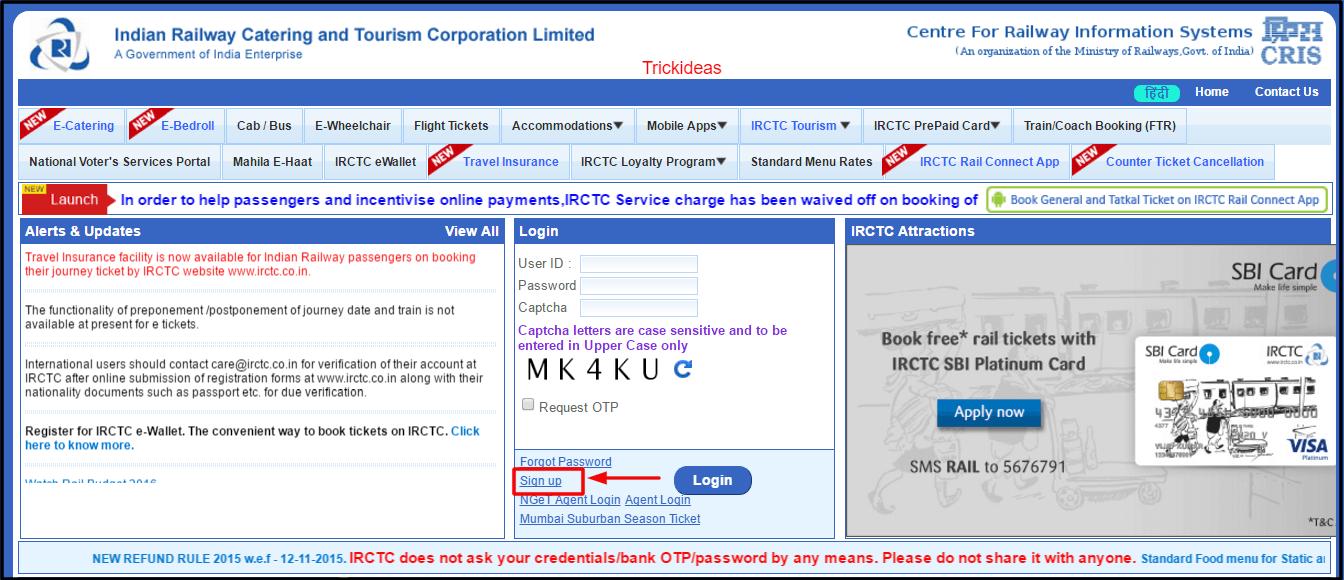 irctc signup