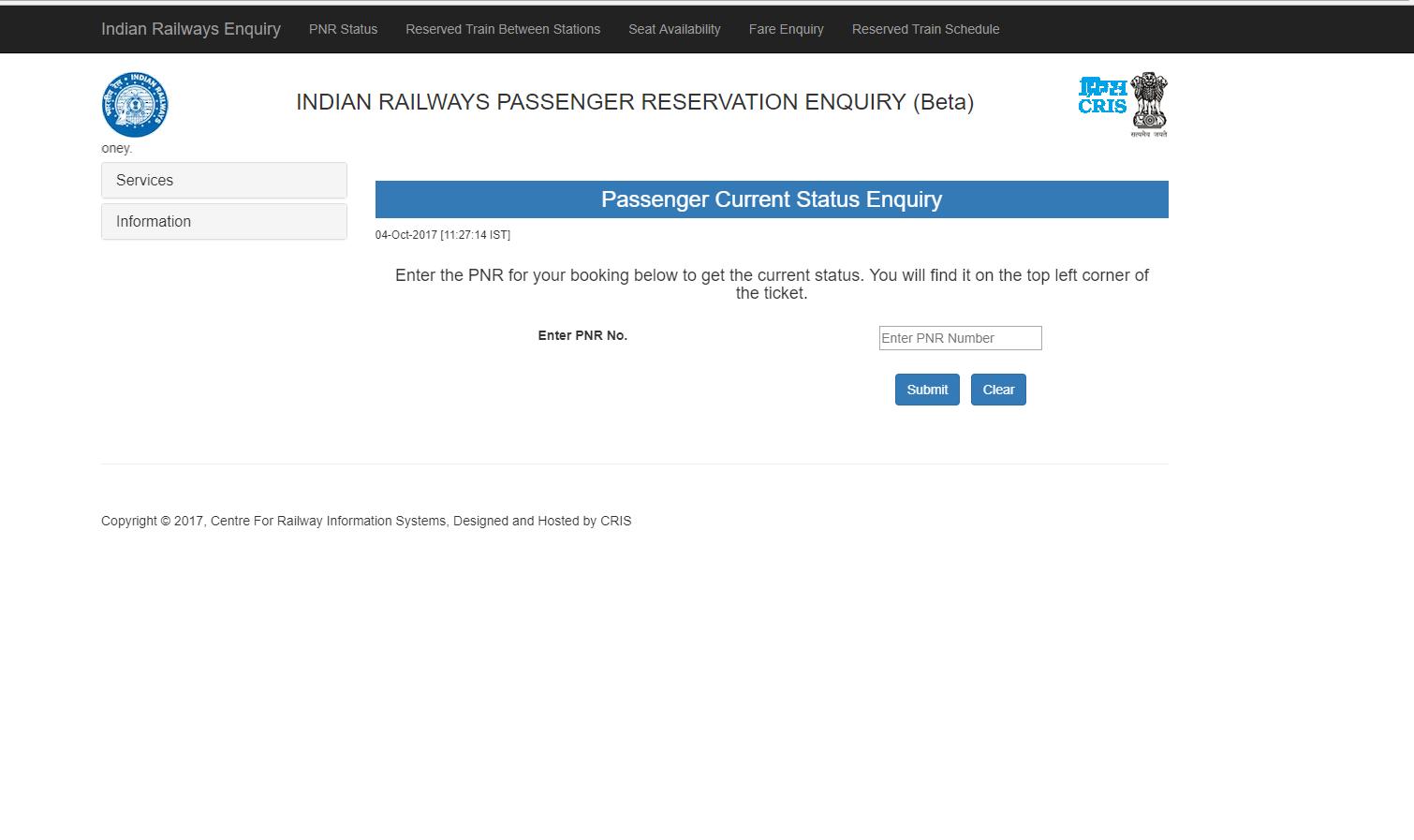 irctc pnr current status enquiry
