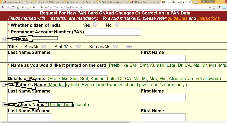 correct PAN Card mistakes
